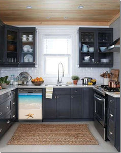 Dark Gray Kitchen Cabinets with White Marble Countertop Against White Walls Window Behind Sink Starfish On Beach Magnet Skin on Dishwasher Black Control Panel