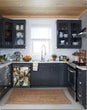 Load image into Gallery viewer, Dark Gray Kitchen Cabinets with White Marble Countertop Against White Walls Window Behind Sink Venice Canals Magnet Skin on Dishwasher Black Control Panel