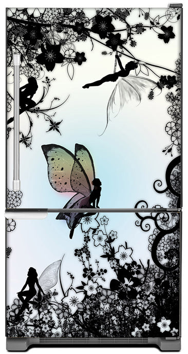Delightful Fairies Magnet Skin on Model Type Bottom Freezer Refrigerator