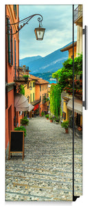 European Cobblestone Path Magnet Skin on Side of Refrigerator