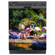 Load image into Gallery viewer, Flamingo Garden Magnet Skin on Black Dishwasher
