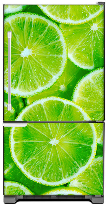 Fresh Limes Magnet Skin on Model Type Bottom Freezer Refrigerator