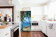 Load image into Gallery viewer, Full Kitchen Layout Wood Floors Beach Hammock Magnet Skin on Refrigerator Model Type Bottom Freezer Next to Recessed Microwave Surrounding White Cabinets and White Countertop