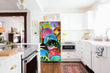 Load image into Gallery viewer, Full Kitchen Layout Wood Floors Colorful Plates Magnet Skin on Refrigerator Model Type Bottom Freezer Next to Recessed Microwave Surrounding White Cabinets and White Countertop