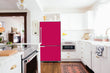 Load image into Gallery viewer, Full Kitchen Layout Wood Floors Hot Pink Magnet Skin on Refrigerator Model Type Bottom Freezer Next to Recessed Microwave Surrounding White Cabinets and White Countertop