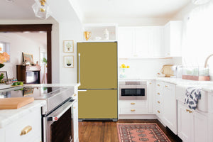 Full Kitchen Layout Wood Floors Olympic Gold Magnet Skin on Refrigerator Model Type Bottom Freezer Next to Recessed Microwave Surrounding White Cabinets and White Countertop