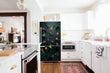 Load image into Gallery viewer, Full Kitchen Layout Wood Floors with Herbs & Spices Magnet Refrigertor Skin Cover Panel on Model Type Fridge Bottom Freezer Next to Recessed Microwave Surrounding White