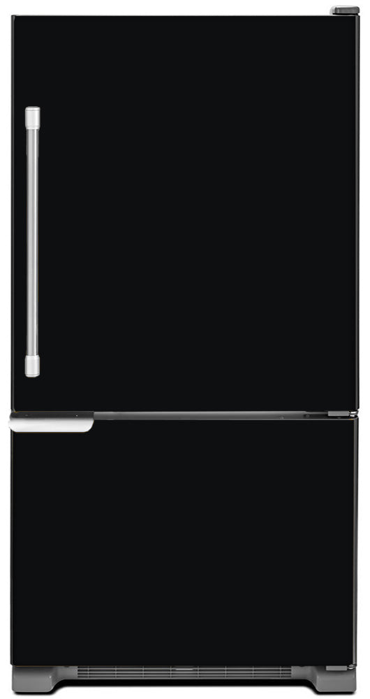 Gloss Black Color Magnet Skin on Model Type Bottom Freezer Refrigerator