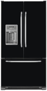 Gloss Black Color Magnet Skin on Model Type French Door Refrigerator with Ice Maker Water Dispenser