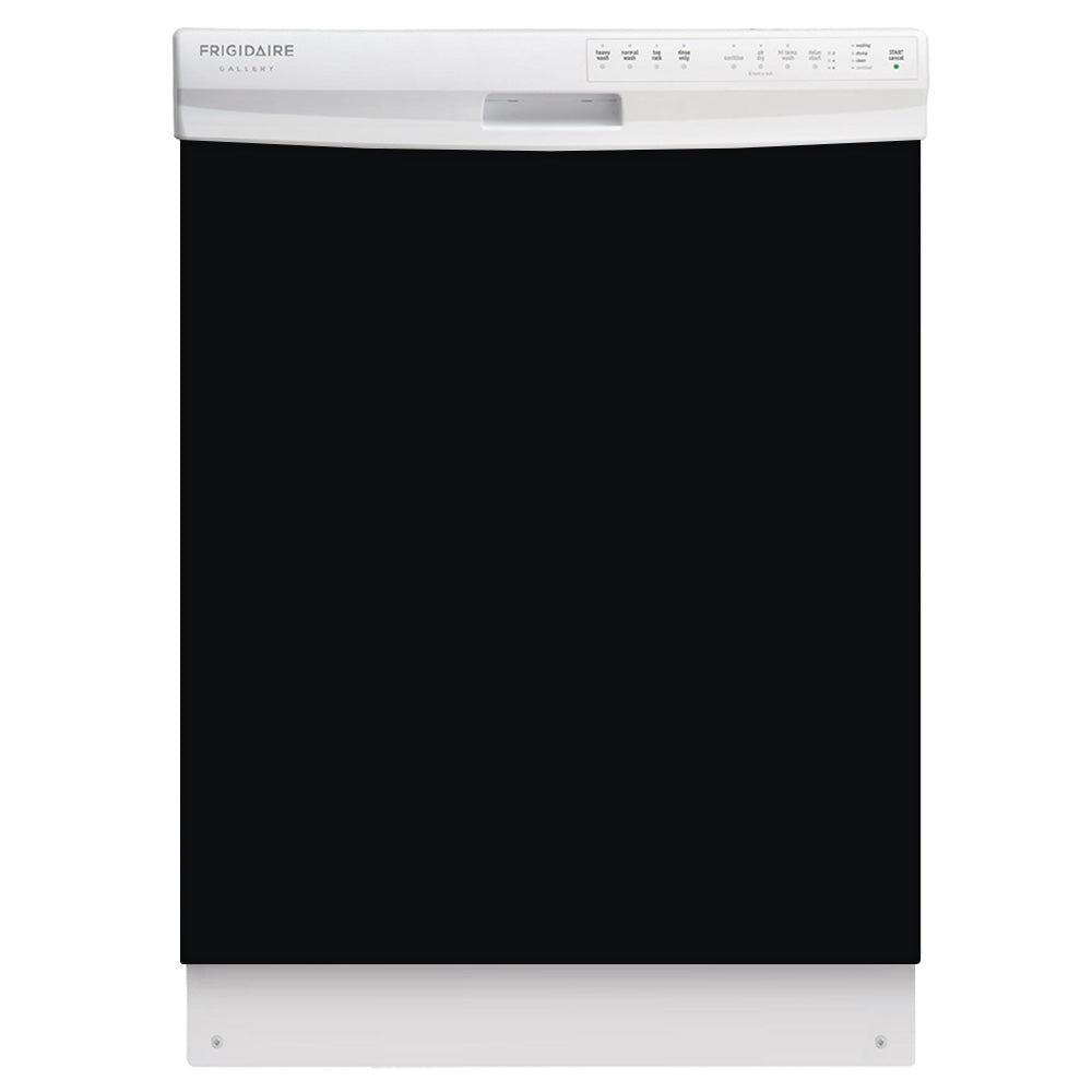 Gloss Black Color Magnet Skin on White Dishwasher