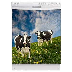 Grazing Cows Magnet Skin on White Dishwasher