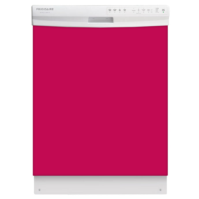 Hot Pink Color Magnet Skin on White Dishwasher