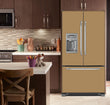 Load image into Gallery viewer, Kitchen with Brown Cabinets Ivory Counter Top Almond Nutshell Magnet Skin on French Door Refrigerator with Ice Maker