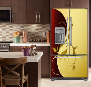 Kitchen with Brown Cabinets Ivory Counter Top Burgundy Gold Leaf Magnet Skin on French Door Refrigerator with Ice Maker
