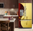 Load image into Gallery viewer, Kitchen with Brown Cabinets Ivory Counter Top Burgundy Gold Leaf Magnet Skin on French Door Refrigerator with Ice Maker