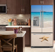 Load image into Gallery viewer, Kitchen with Brown Cabinets Ivory Counter Top Starfish on Beach Magnet Skin on French Door Refrigerator with Ice Maker
