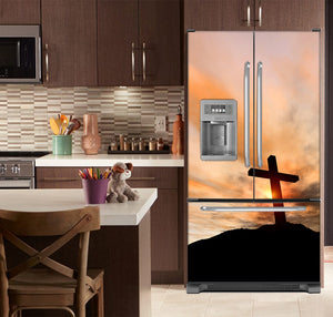 Kitchen with Brown Cabinets Ivory Counter Top Sunrise Cross Magnet Skin on French Door Refrigerator with Ice Maker