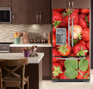 Kitchen with Brown Cabinets Ivory Counter Top Sweet Strawberries Magnet Skin on French Door Refrigerator with Ice Maker