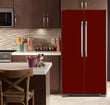 Load image into Gallery viewer, Kitchen with Brown Cabinets Ivory Countertop Burgundy Maroon Magnet Skin on Refrigerator Model Type Bottom Freezer