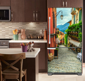 Kitchen with Brown Cabinets Ivory Countertop European Cobblestone Path Magnet Skin on Model Type Bottom Freezer Refrigerator