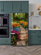 Load image into Gallery viewer, Kitchen with Evergreen Cabinets Light Color Wood Floor Flower Path Image Magnet Skin on Model Type Bottom Freezer Refrigerator Next to Black Double Oven