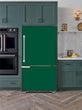 Load image into Gallery viewer, Kitchen with Evergreen Cabinets Light Color Wood Floor Forest Green Magnet Skin on Model Type Bottom Freezer Refrigerator Next to Black Double Oven