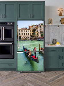 Kitchen with Evergreen Cabinets Light Color Wood Floor Venice Italy Magnet Skin on Model Type Bottom Freezer Refrigerator Next to Black Double Oven
