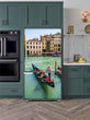 Load image into Gallery viewer, Kitchen with Evergreen Cabinets Light Color Wood Floor Venice Italy Magnet Skin on Model Type Bottom Freezer Refrigerator Next to Black Double Oven