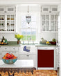 Load image into Gallery viewer, Kitchen with White Cabinets Green Countertop Terra Cotta Floor Kitchen Sink with Window next to Burgundy Maroon Magnet Skin on Dishwasher with White Control Panel