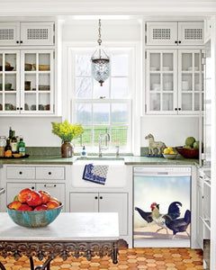 Kitchen with White Cabinets Green Countertop Terra Cotta Floor Kitchen Sink with Window next to Chickens On The Run Magnet Skin on Dishwasher with White Control Panel