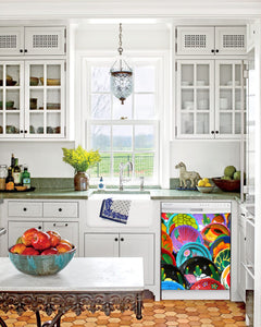 Kitchen with White Cabinets Green Countertop Terra Cotta Floor Kitchen Sink with Window next to Colorful Plates Magnet Skin on Dishwasher with White Control Panel