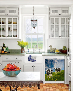 Kitchen with White Cabinets Green Countertop Terra Cotta Floor Kitchen Sink with Window next to Grazing Cows Magnet Skin on Dishwasher with White Control Panel