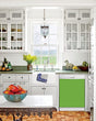 Load image into Gallery viewer, Kitchen with White Cabinets Green Countertop Terra Cotta Floor Kitchen Sink with Window next to Lime Green Magnet Skin on Dishwasher with White Control Panel