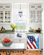 Load image into Gallery viewer, Kitchen with White Cabinets Green Countertop Terra Cotta Floor Kitchen Sink with Window next to Majestic USA Flag Magnet Skin on Dishwasher with White Control Panel
