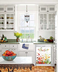 Kitchen with White Cabinets Green Countertop Terra Cotta Floor Kitchen Sink with Window next to Market Fresh Inspiration Magnet Skin on Dishwasher with White Control Panel