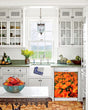 Load image into Gallery viewer, Kitchen with White Cabinets Green Countertop Terra Cotta Floor Kitchen Sink with Window next to Orange Poppies Magnet Skin on Dishwasher with White Control Panel