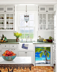Kitchen with White Cabinets Green Countertop Terra Cotta Floor Kitchen Sink with Window next to Perfect Palm Tree Magnet Skin on Dishwasher with White Control Panel