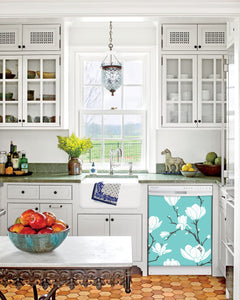 Kitchen with White Cabinets Green Countertop Terra Cotta Floor Kitchen Sink with Window next to White Magnolias Magnet Skin on Dishwasher with White Control Panel