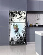 Load image into Gallery viewer, Lavender Kitchen Cabinets Insert Delightful Fairies Magnet Skin on Fridge Model Type Top Freezer with White Marble Floors