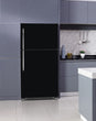 Load image into Gallery viewer, Lavender Kitchen Cabinets Insert Gloss Black Magnet Skin on Fridge Model Type Top Freezer with White Marble Floors