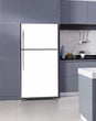 Load image into Gallery viewer, Lavender Kitchen Cabinets Insert Semi Gloss White Magnet Skin on Fridge Model Type Top Freezer with White Marble Floors
