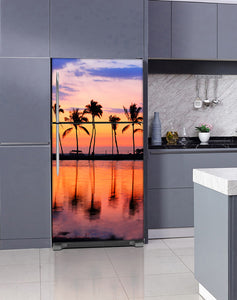 Lavender Kitchen Cabinets Insert Sunset Palm Trees Magnet Skin on Fridge Model Type Top Freezer with White Marble Floors