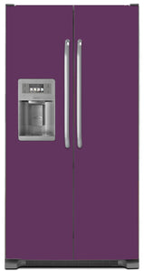 Lavender Mauve Color Magnet Skin on Model Type Side by Side Refrigerator with Ice Maker Water Dispenser