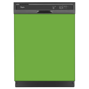 Lime Green Color Magnet Skin on Black Dishwasher