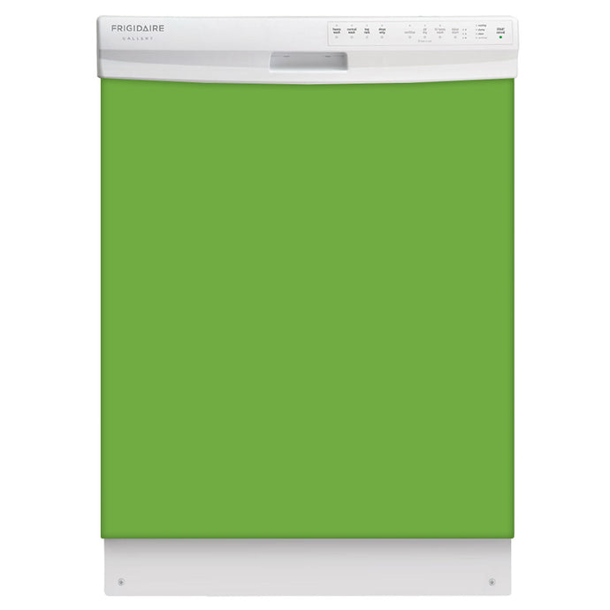Lime Green Color Magnet Skin on White Dishwasher