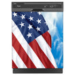 Load image into Gallery viewer, Majestic USA Flag Magnet Skin on Black Dishwasher