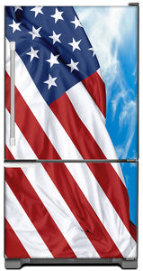 Majestic USA Flag Magnet Skin on Model Type Bottom Freezer Refrigerator