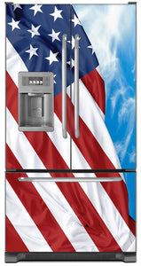 Majestic USA Flag Magnet Skin on Model Type French Door Refrigerator with Ice Maker Water Dispenser