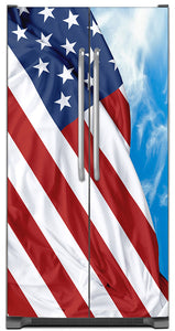 Majestic USA Flag  Magnet Skin on Model Type Side by Side Refrigerator