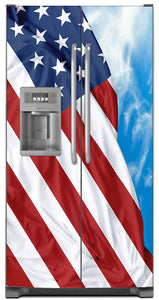 Majestic USA Flag Magnet Skin on Model Type Side by Side Refrigerator with Ice Maker Water Dispenser